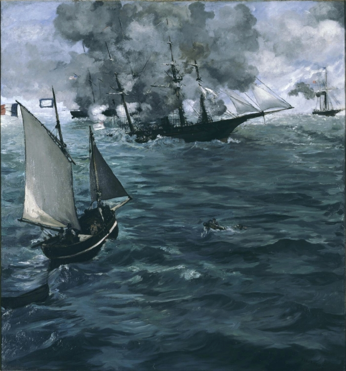 Source: https://upload.wikimedia.org/wikipedia/commons/5/56/Édouard_Manet-Kearsarge-Alabama2.jpg